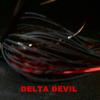 Delta Devil Black Head Black Weed Guard Black and Red Live Rubber Black Red Flake and Black Red Fishscale Silicone Hand Tied